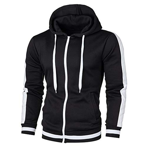 LSAltd Männer Casual Solid Color Kapuzenpullover Outwear Einfache Langarm Reißverschluss Jacke Mantel Mit Tasche