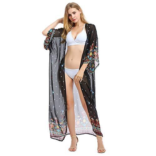 Tyidalin Femme Cardigan Plage Paréo Robe Kimono Maxi Longue Eté Mousseline Cache-Maillot de Bain Imprimé (Couleur 5, Taille Unique)