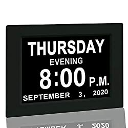 "Digital Calendar Alarm Day Clock - with 8"" Screen Display, am pm, 5 Alarm, for Extra Impaired Vision People, The Aged Seniors, The Dementia, Wall Mounted, black"