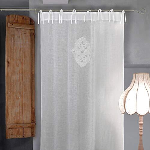 AT17 Visillo Cortina Lino Bordado, Cortina Lino para Salón Dormitorio, Cortina de Ventana Romántico Rústico Shabby Chic - Bordado - 140x290 - Blanco