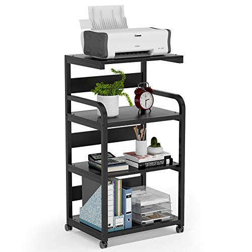 Tribesigns 4-Shelf Mobile Printer Stand with Storage Shelves, Large Modern Printer Cart Desk Machine Stand Storage Rack with Wheels for Home Office(Black)