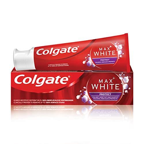 Colgate Zahnpasta Max White Protect 75ml, mit 3 aktiven Mineralien: poliert, schützt und kräftigt