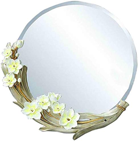 Miroir de maquillage LHY Magnolia Salle de Bain Mural Miroir Coiffeuse Décoration Murale Miroir Salle de Bains La Mode (Color : White)