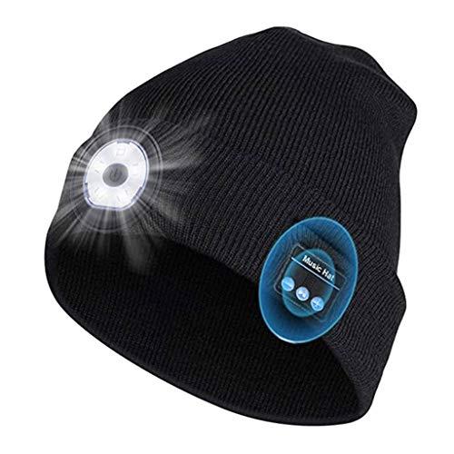 SHYPT Winter Mütze Unisex Mütze Soft Black Strickmütze Drahtloses Bluetooth 5.0 Smart Cap Stereo-Kopfhörer-Headset mit LED-Licht