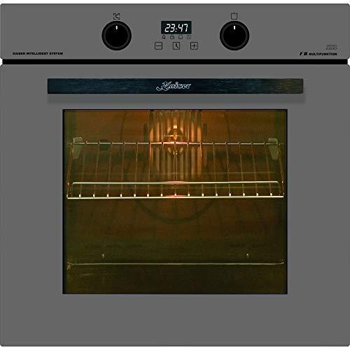 Kaiser EH 6361 G Luxus Einbaubackofen 60cm/ Autark/Graues Glas/ 79L / 8 Funktionen/Selbstreinigung/Heißluft/Drehspieß/Teleskopauszug/Einbau Elektro Backofen/Backofen/Knebel PUSH mit Licht/