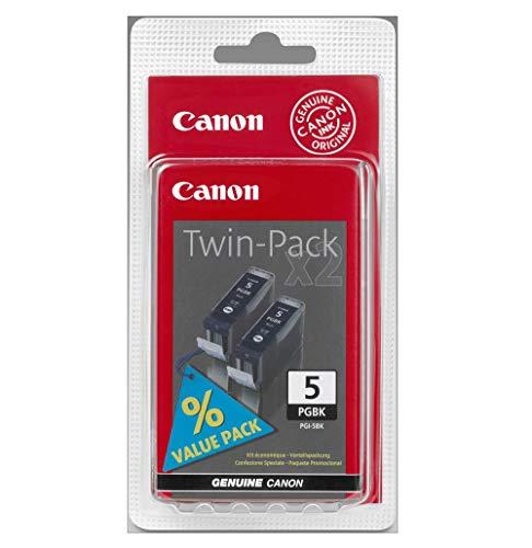 Original Canon 0628B025 / PGI-5BK Tinte (schwarz, ca. 800 Seiten, Inhalt 26 ml, Doppelpack) für Pixma IP 3300, IP 3500, IP 4200, IP 4300, IP 4500, IP 5200, IP 5300, IX 4000, IX 5000, MP 500, MP 510, MP 520, MP 530, MP 600, MP 610, MP 800, MP 810, MP 830, MP 970, MX 700, MX 850