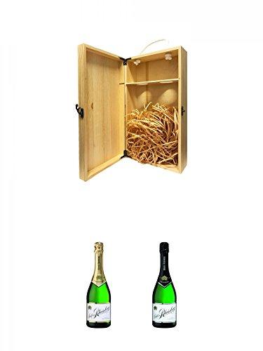1a Whisky Holzbox für 2 Flaschen mit Hakenverschluss + Schloß Rheinberg Sekt halbtrocken Deutschland 0,75 Liter + Schloß Rheinberg Sekt trocken Deutschland 0,75 Liter