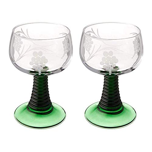 Set of 2 Glass Rhein Roemer Goblet German Rhein Roemer Vintage Etched Wine Glass