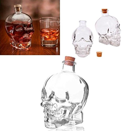unbrand Glass 14Oz Skull Head Decanter Container Flask Jar Vodka Whiskey Tequila Cup Bar