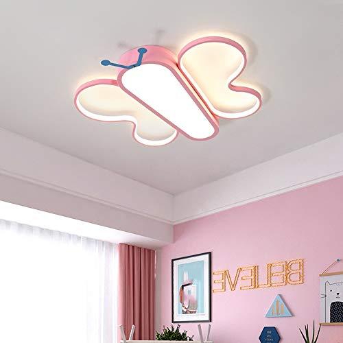 Hancoc Lámpara de techo LED con diseño de mariposa, diseño de dibujos animados, color rosa, para proteger los ojos, para niñas y niños (tamaño: M)