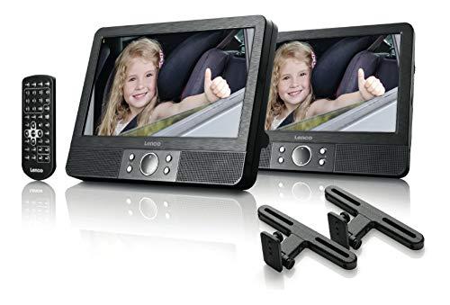 Lenco tragbarer DVD-Player MES-405 2x 9 Zoll (23 cm) Bildschirm, 2x Kopfhöreranschluss, Kfz Adapter, schwarz