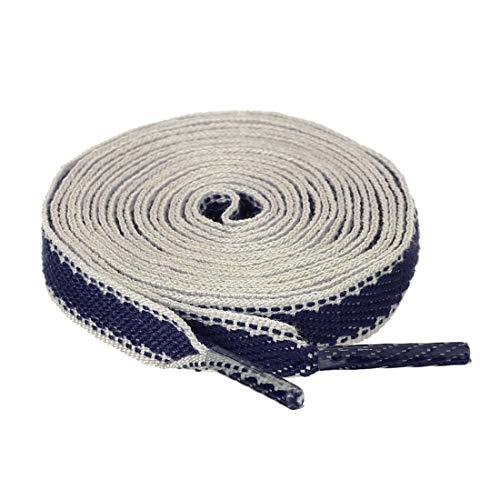 sourcing map 2 Paare Leinwand Flache Colorblock Streifen Shoelaces Schnürsenkel Blau Weiß 140cm