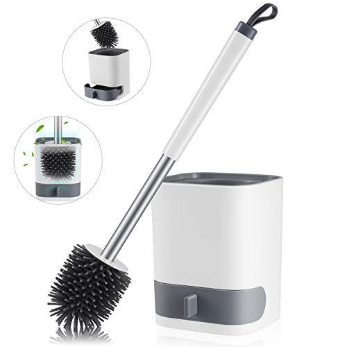 Funxim Silikon Toilettenbürste Set, WC-Bürste und Halter, Langer Stiel klobürste Silikonbürste mit Zerlegbarer Wasserschublade (Wandmontage & Stehen)