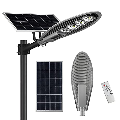 Commercial Street Light-20000LM 6000K Outdoor Solar LED Street Light with Remote Control and Dusk to Dawn, LOVUS, ST200-007