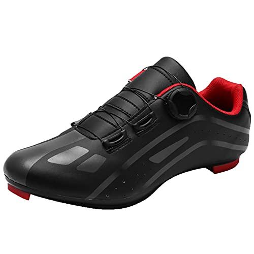 AGYE Zapatillas de Ciclismo para Hombres y Mujeres,Unisex Peloton Shoes Road Riding Hebilla de Zapato Giratoria con Hebilla Zapatillas de Ciclismo Interior Delta SPD,Black-EU42
