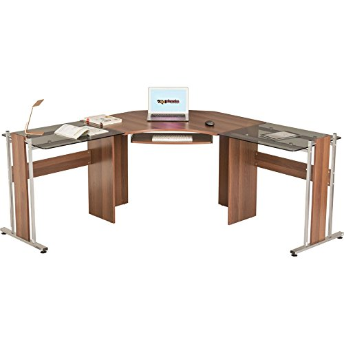 Large Corner Computer Desk Office Table with Glass Wings for Home...