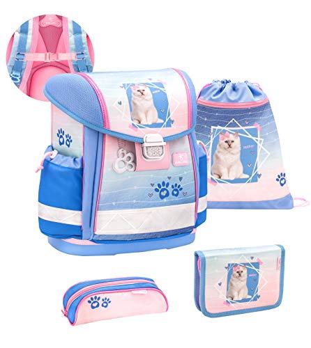 Belmil ergonomischer Schulranzen Set 4-teilig mit Brustgurt/Mädchen 1. klasse 2. klasse 3. klasse - Super Leicht 860-950 g/Katze, Caty/Rosa Blau (403-13/S/C My Sweet Caty)