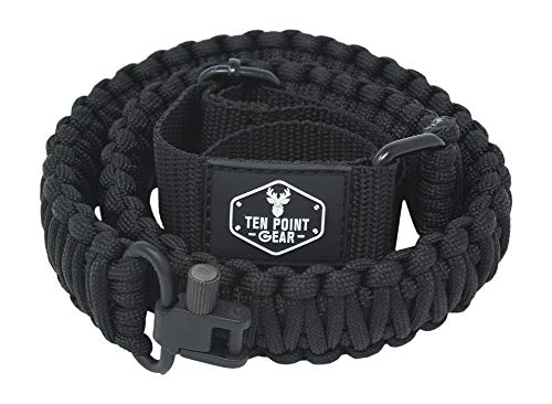 Ten Point Gear Gun Sling Paracord 550 Adjustable w/Swivels (Multiple Color Options) (Black & Dark Green Camo)