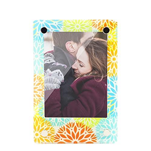 Goshyda Imanes magnéticos para frigorífico con Marco de Fotos de 3 Pulgadas, Adhesivo para frigorífico con Marco de Fotos de acrílico HD para Fotos Familiares, Obras de Arte y diversión para niños