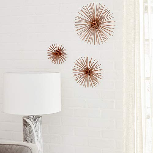 """CosmoLiving by Cosmopolitan 50373 Contemporary Style 3D Round Copper Metal Starburst Wall Decor Sculptures   Set of 3: 6"""", 9"""", 12"""""""