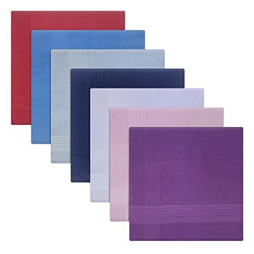 Paquete de 7 pañuelos teñidos para hombre/caballero, varios colores con bordes de raso, 100% algodón, 40 x 40 cm Azul multicolor Talla única