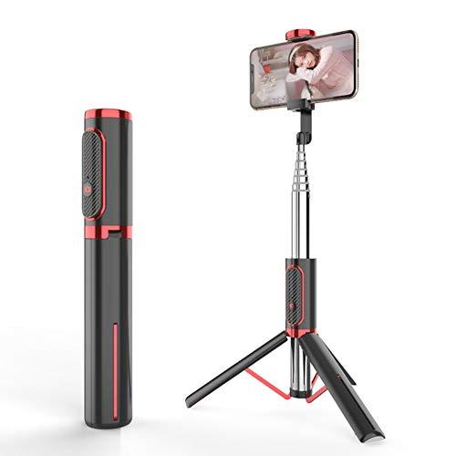 Yangyang Trípode Móvil Trípode Flexible para Cámara con Control Remoto Bluetooth para iOS Android, Trípode Plegable con Soporte de Teléfono y Bolsa Portátil para Viajes, Selfie, Medición,Rojo