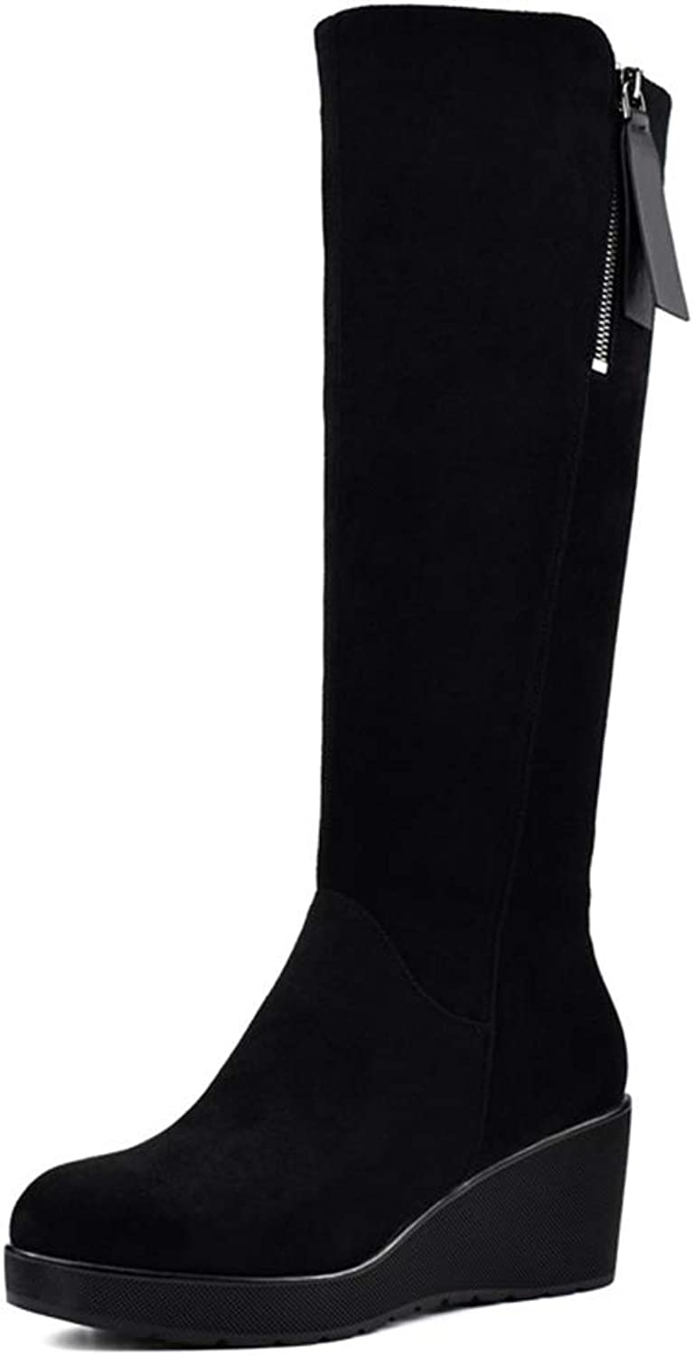 Hoxekle Knee High Boots Wedge Increasing Height Black Platform Thick Fur Warm Outdoor shoes