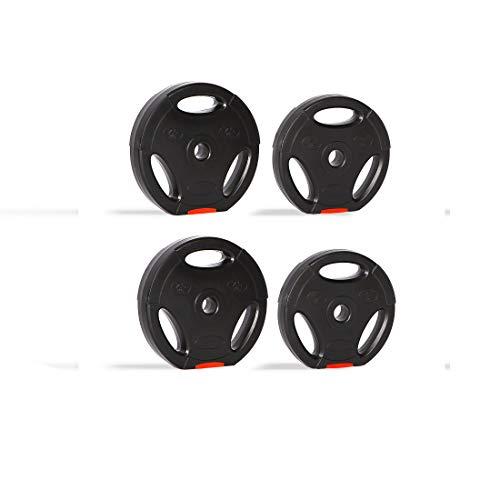 zoomyo Peak Power Discos de Pesas, Set de 4 Pesas con Agujero estándar de 30 mm, compatibles con Las Barras Cortas y largas habituales, con Tres Asas para el Entrenamiento Libre (25)