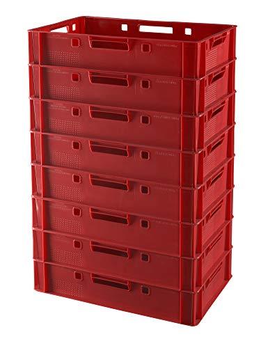 8 Stück E1 Kisten 60x40x12,5 Fleischkiste Lagerkiste Metzgerkiste in rot