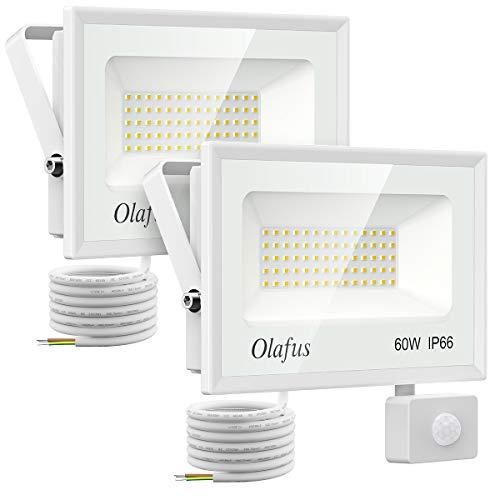 Olafus 2 Pack 60W Projecteur LED Extérieur Détecteur de Mouvement, 6600LM, Spot LED Puissant, IP66 Etanche, 5000K Blanc Froid, Eclairage de Sécurité pour Jardin, Garage Passage