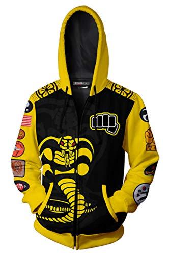 Bilicos Herren Damen Kapuzenpullover Sweatshirt Print Pulli Tops Pullovershirt Sweatjacke Outwear Oberteile Hoodies Jumper Kapuzen Karate Cobra 4XL (Brustumfang 122cm)