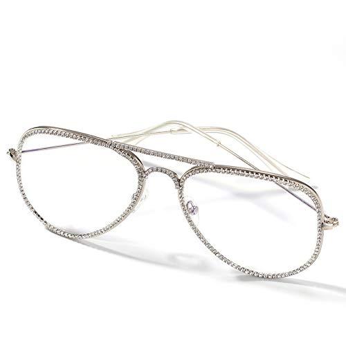 Moca Schmuck Hip Hop Brille Simuliert Diamant Vereist Strass Kristall Metallrahmen Retro Brille Für Männer Frauen (Silver)