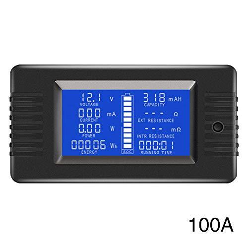 Batterie-Monitor Messgerät, LCD-Display, DC Batterie Monitor, 0-200 V, Voltmeter Amperemeter für PKW, Wohnmobil, Solarsystem, LCD blaue Hintergrundbeleuchtung, Wie abgebildet, 100a