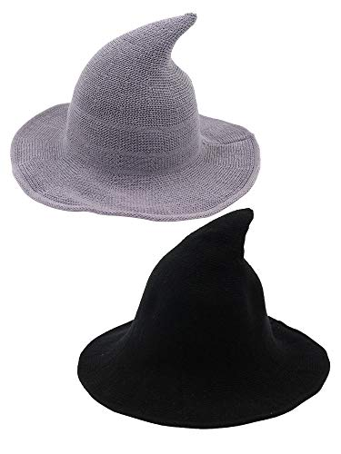 Trounistro 2 Pack Halloween Witch Hat Warm Wool Hats for Women Halloween Party Decor (Style 6)