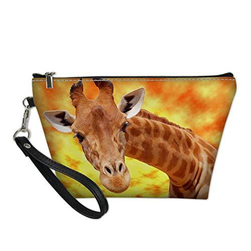 UNICEU Women Outdoor Fashion Cartoon Giraffe Print Cosmetic Organizer Makeup Pouch Portable Case Travel Accessories