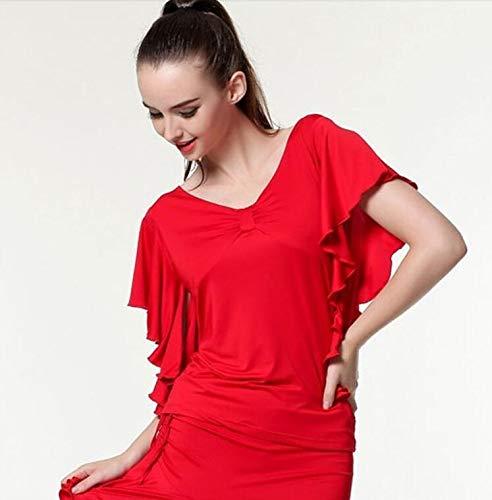Baile de salón superior de la blusa Flamenco estándar moderno bailarín Rendimiento Trajes Vals Dancewear mangas cortas de 7 colores (Color : Blue, Size : XXXL): Amazon.es: Ropa y accesorios