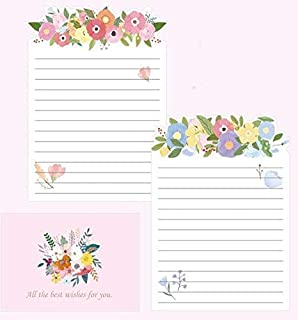 Paper Envelopes - 9 Pcs/Set 3 Envelopes + 6 Letter Papers Cat and Flowers Envelope Letter Set Writing Paper Gift Stationer...