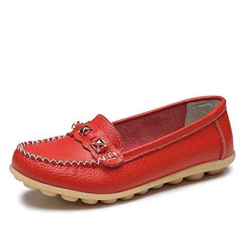 Vrouwen Loafers, Platte Instappers Moccasins Dames Casual Zachte Bodem Wandelschoenen Leather Rijschoenen,Red,39EU