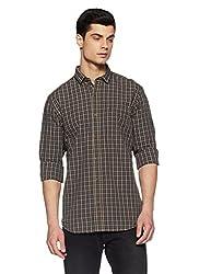 John Players Mens Checkered Slim Fit Casual Shirt