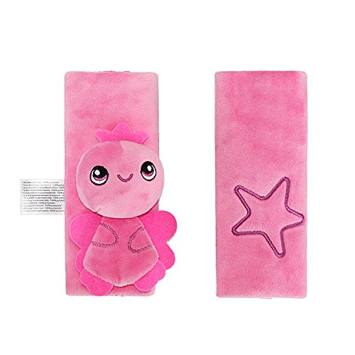 Inchant Baby Car Seat Belt Cover Pink Baby Carrier Strap Covers, Fit for All Seasons, Children Stroller Belt Strap Cover Pads
