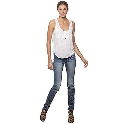 Women's Blue Denim Medium Whisker Wash Skinny Premium Jeans