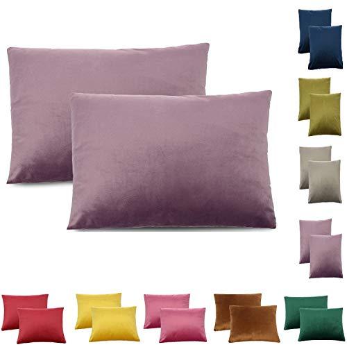 CALIYO Federa per cuscino in velluto, tinta unita, 2 o 3 federe, per cuscini decorativi, cuscino decorativo per divano, cuscino da divano 45 x 45 cm, diversi colori, Lilla, 30 x 50 cm