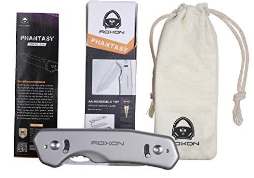 Roxxon Einhandmesser Phantasy Auswechselbare Klinge Hochwertiges Aluminiumgehäuse doppelte Klingenverriegelung
