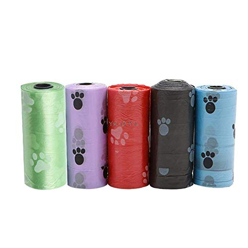 Baibao Perro de Mascota 5Roll Residuos Caca Poo Bolsa Impresión degradable Clean-Up Bolsas, Negro (Color : Blue)