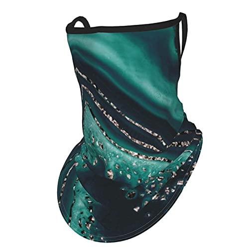 asdew987 Bufanda de ágata verde azulado con purpurina en oro rosa con gemas para decorar la cara con bucles para las orejas y seda para el cuello, pasamontañas para hombres y mujeres
