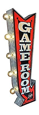 """Game Room LED Sign, Large 25"""" Double Sided Red Arrow Sign with Large Marquee Style LED Light Bulbs, Battery Operated Wall Decor with A Retro Distressed Design"""