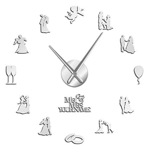 ZDwawz Reloj silencioso 3D Adhesivo Efecto Cristal para Pared- Plata Amantes Pareja comprometida Boda Personalizada Decoración de Arte de Pared Reloj de Pared Personalizado Regalo de San Valentín