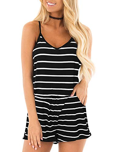 REORIA Womens Casual Summer One Piece Sleeveless Spaghetti Strap Playsuits Short Jumpsuit Beach Rompers Stripped Black Large