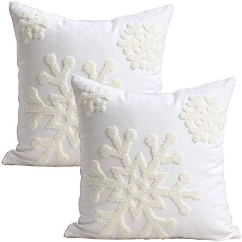 Elife 18x18 Soft Canvas Christmas Winter Snowflake Style Cotton Linen Embroidery Throw Pillows Covers w/Invisible Zipper for Bed Sofa Cushion Pillowcases for Kids Bedding (1 Pair, White)