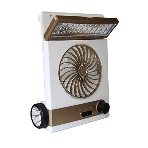 CYzpf Lámpara de Camping LED con Ventilador Solar 2 en 1 Ventiladores de Techo Luz Equipo Portátil para Exteriores para Casa Oficina Festivales Lectura Jardín,